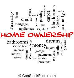 概念, 単語, 帽子, 雲, 所有権, 家, 赤