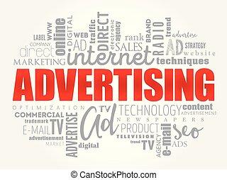 概念, 単語, 広告, 雲