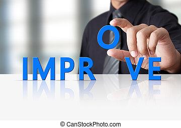 概念, 単語, 成功した, テキスト, 改良しなさい, 手, ビジネスマン