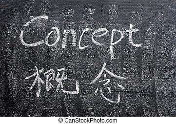 概念, -, 単語, 書かれた, 上に, a, よごされた, 黒板
