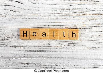 概念, 単語, 木製である, 作られた, 健康, ブロック