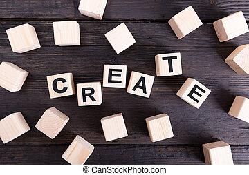 概念, 単語, 木製である, 作成しなさい, 考え, blocks., 書かれた, デザイン, 新しい