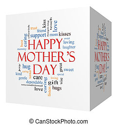 概念, 単語, 母, 立方体, 3d, 日, 雲, 幸せ