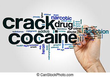 概念, 単語, 灰色, 背景, ひび, コカイン, 雲