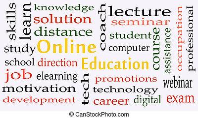概念, 単語, 背景, オンラインの教育, 雲