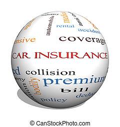 概念, 単語, 自動車, 球, 保険, 雲, 3d