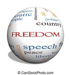 概念, 単語, 自由, 球, 雲, 3d