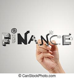 概念, 単語, 金融, ビジネス, 手, グラフィック, デザイン, 図画