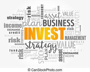 概念, 単語, 雲, コラージュ, 投資しなさい, ビジネス