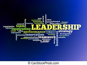概念, 単語, 雲, リーダーシップ