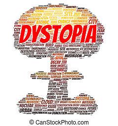 概念, 単語, 雲, dystopia
