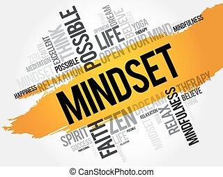 概念, 単語, 雲, mindset