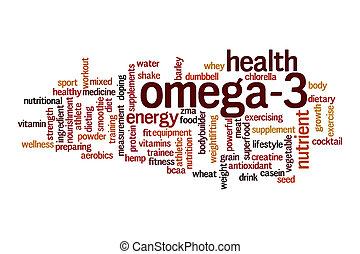 概念, 単語, 雲, omega-3