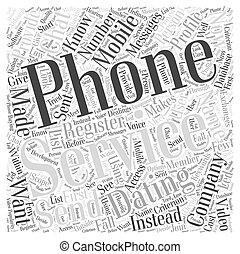 概念, 単語, 電話, サービス, デートする, 雲