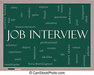 概念, 単語, 黒板, 仕事インタビュー, 雲