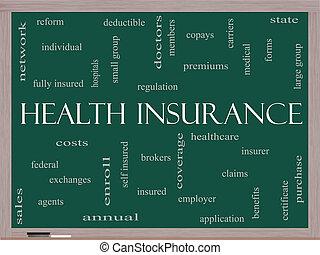 概念, 単語, 黒板, 健康保険, 雲
