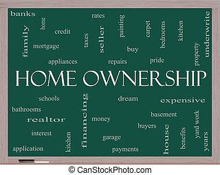 概念, 単語, 黒板, 所有権, 家, 雲