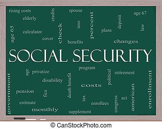 概念, 単語, 黒板, 社会保障, 雲