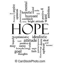 概念, 単語, 黒, 希望, 白い雲