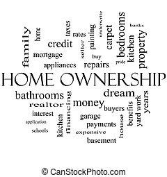 概念, 単語, 黒, 所有権, 家, 白い雲