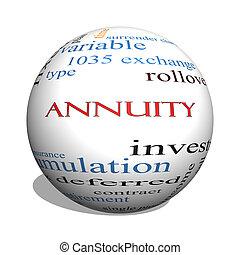 概念, 単語, annuity, 球, 雲, 3d