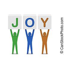 概念, 単語, illustration., 男性, joy., 保有物, 3d