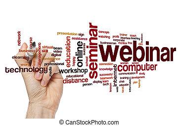 概念, 単語, webinar, 雲