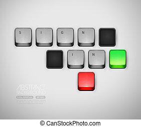 概念, 印, コンピュータキーボード, ログイン, ∥あるいは∥