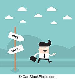 概念, 危険, 取得, ビジネスマン, 道, 幸せ