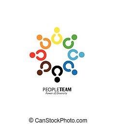 概念, 友情, ベクトル, チームワーク, 協力, 円, アイコン