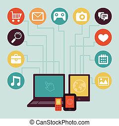 概念, 发展, 运载工具, app, -, 矢量