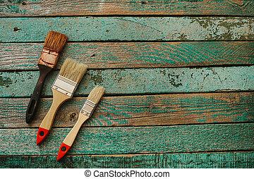 概念, 古い, ビジネス, 木製である, ブラシ, 2, チームワーク, ブラシ, チーム, 新しい, surface., 建物。