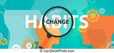 概念, 古い, フォーカス, 分析, 習慣, 変化する, 新しい