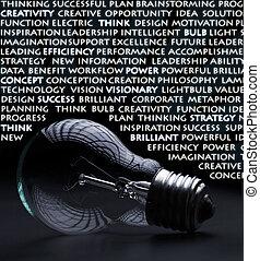 概念, 古い, 電気である, 考え, 白熱, 言葉, 電球