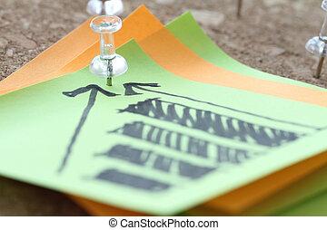 概念, 商业, 别针, 图表, , 图表, 注意到, 策略, 板, 手, 关闭, 画, 粘性, 软木塞