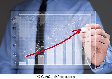 概念, 商业, 图表, 策略, 商人, 图