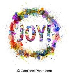 概念, 喜び, 水彩画, はねる, 印