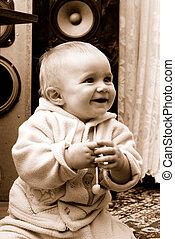 概念, 喜び, sincerely, 笑い, 赤ん坊, 小さい