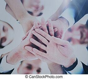 概念, 团体, 商务人士, 代表, 配合, 手, 友谊, 加入