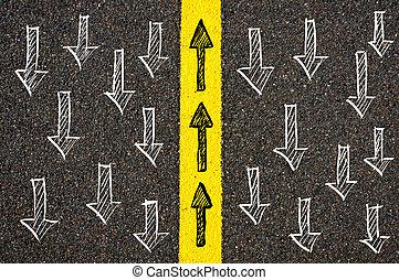 概念, 圖像, 由于, 道路標明, 黃的線