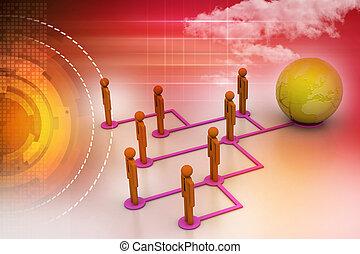 概念, 在中, 全球的商业, 网络