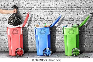 概念, 在中, 垃圾, recycling., the, 手, 投掷, a, 垃圾袋, 在中, the, 垃圾, 盒子, 对, the, 砖墙, 背景。, 概念, 在中, pollution.