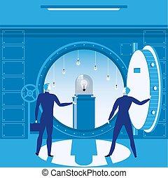 概念, 地下, ベクトル, illustration., 銀行