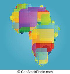 概念, 地図, 作られた, カラフルである, アフリカ, イラスト, ベクトル, スピーチ, 背景, 世界, 泡, 大陸