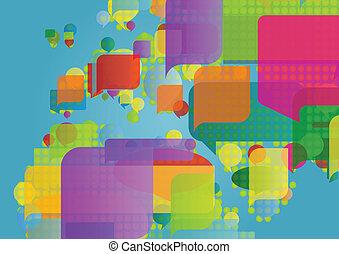 概念, 地図, 作られた, 北, カラフルである, アフリカ, イラスト, 中央, ベクトル, スピーチ, 背景, ヨーロッパ, 泡, 東