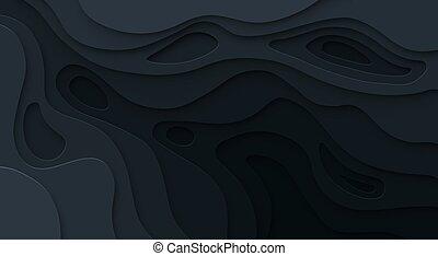 概念, 地図, 地形である, 抽象的, 切口, 手ざわり, ペーパー, バックグラウンド。, ベクトル, レベル, 救助, 曲がった, 暗い, ブラックホール, shadow.