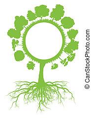 概念, 地球, 木, ベクトル, エコロジー, 背景, 世界, 定着する