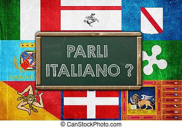 概念, 型, -, 背景, あなた, イタリア語, 話す