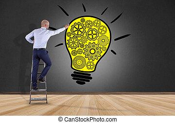 概念, 壁, -, 考え, 創造的, ランプ, 電球, 前部, ビジネスマン, 図画