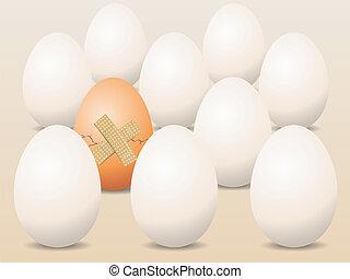 概念, 壊される, ベクトル, 卵